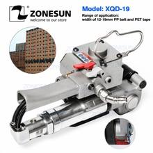 Zonesun handheld XQD 19 pneumático portátil ferramenta de cintar pp pet paletes cinto banda tensor e máquina da caixa seladora