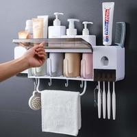 Wand Montieren Zahnbürste Halter Mit Tasse Automatische Zahnpasta Spender Toiletten Staub-beweis Lagerung Rack Badezimmer Zubehör Set