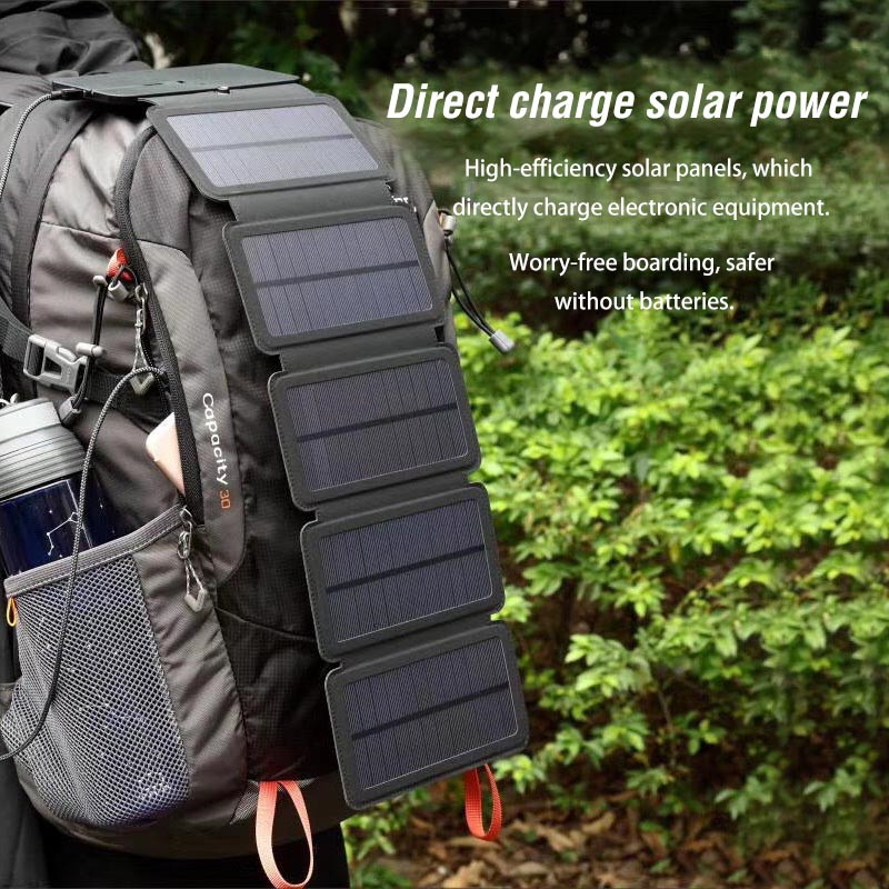 10W Folding Solar Cells Charger 10000mAh <font><b>USB</b></font> Solar Panel Outdoor Portable SunPower Mobile Phone Power Charger Devices Power Bank image