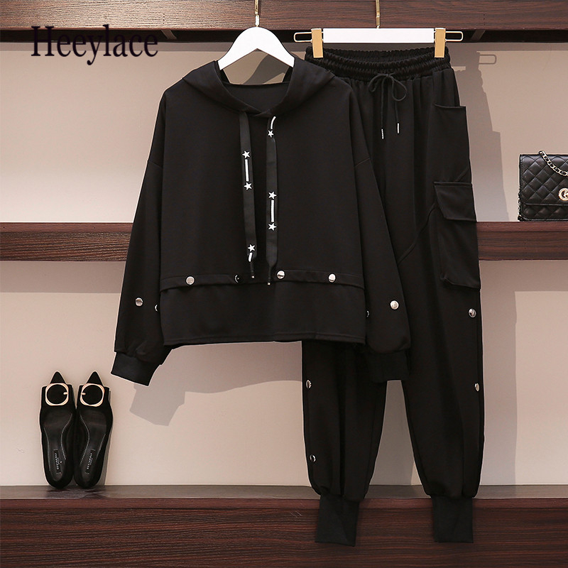Women's Black Sports Suit Large Plus Size  Tracksuit Hooded T Shirt+pants Two Piece Set Top And Pant Big Clothes Matching Set