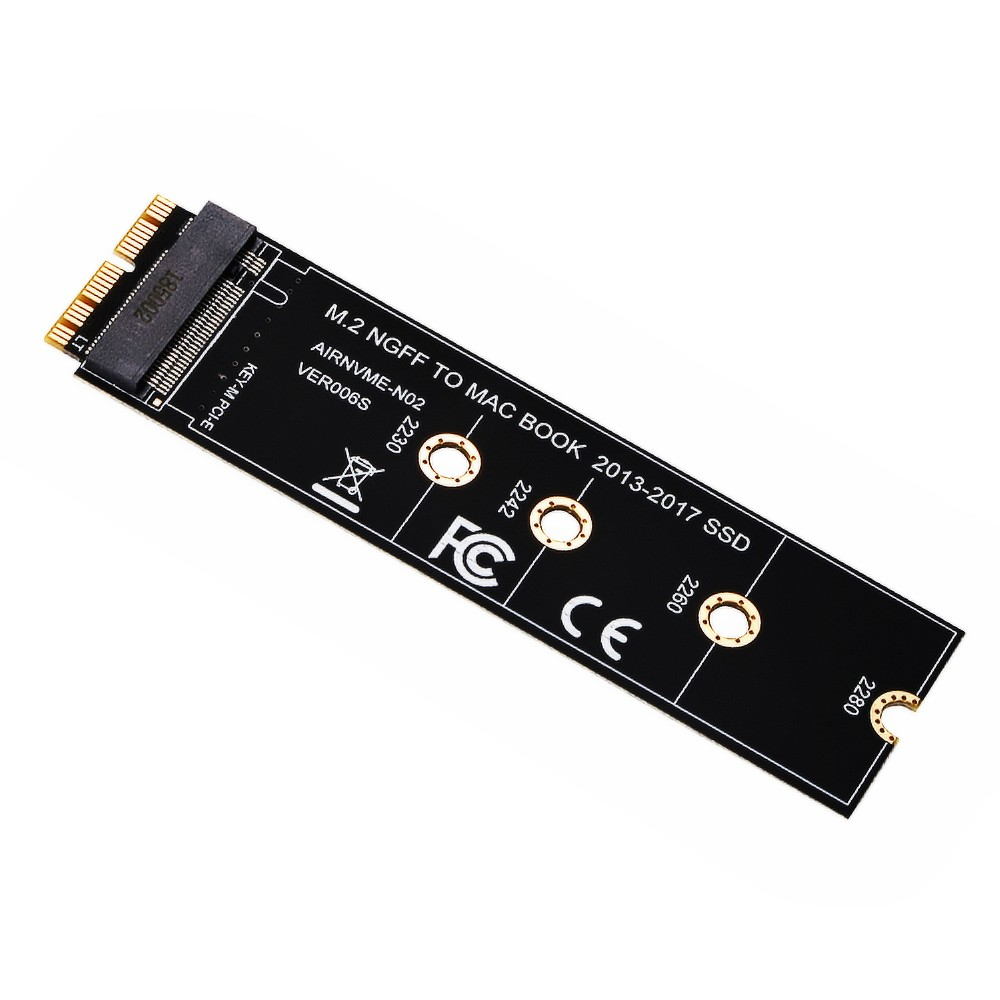 M key M.2 NGFF PCIe AHCI <font><b>M2</b></font> SSD <font><b>Adapter</b></font> Card for 2230-2280 SSD <font><b>Adapter</b></font> For 2013 2014 2015 2017 <font><b>MACBOOK</b></font> Air A1465 A1466 Pro A1398 image
