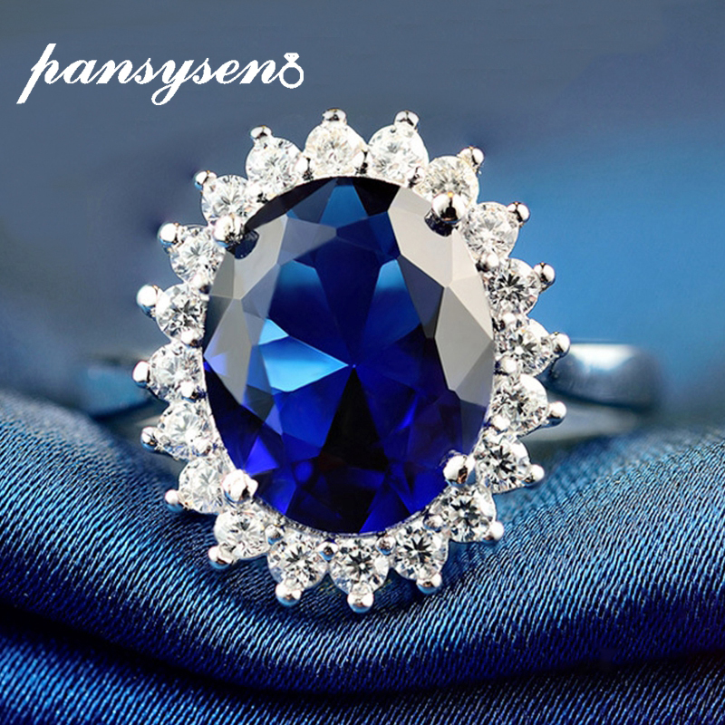 PANSYSEN Exquisite Sapphire gemstone Ring Solid 925 Sterling Silver 9x10mm Oval wedding Rings For Women Anniversary Wedding Gift