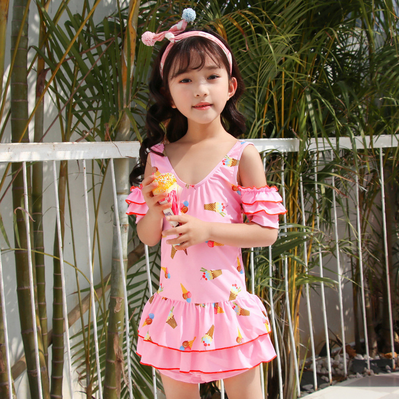 KID'S Swimwear GIRL'S Swimsuit Cute Large Children Korean-style Students Dress-2019 Tour Bathing Suit