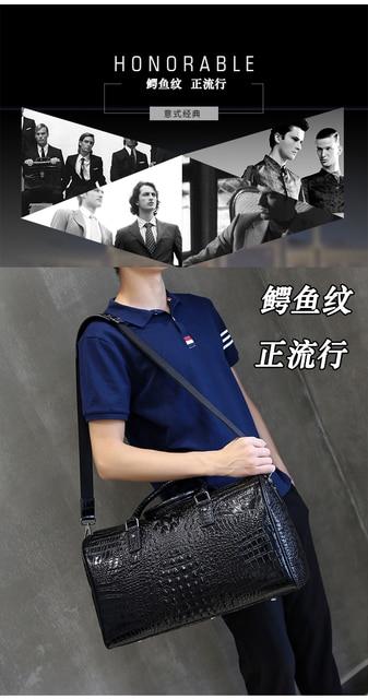 Leather alligator travel bag men's large capacity luggage bag women's leather business boarding bag portable fitness bag 3