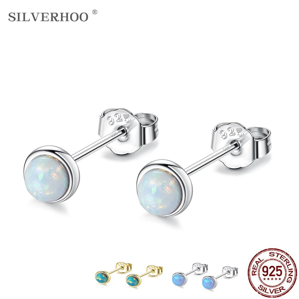 Silverhoo prata esterlina 925 jóias requintado opala brincos para as mulheres azul opala bonito pequeno parafuso prisioneiro brinco presente do dia dos namorados