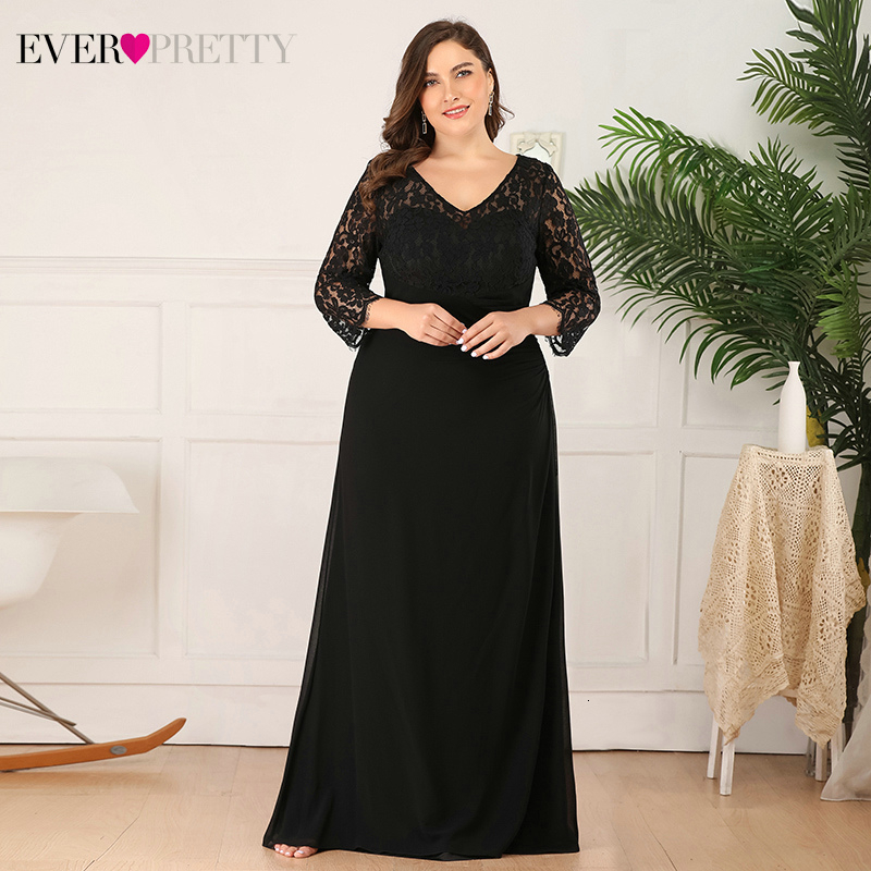 Plus Size Lace Mother Of The Bride Dresses Ever Pretty EP08861BK A-Line V-Neck 3/4 Sleeve Elegant Wedding Party Gowns Trouwjurk