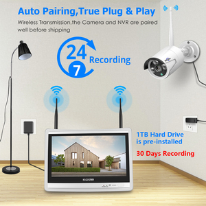 "Image 3 - Hiseeu All In One Met 12 ""Lcd Monitor Draadloze Bewakingscamera Home 8CH 3MP Nvr Kit 4 Stuks 1536P Outdoor Ip Camera H.265 +"