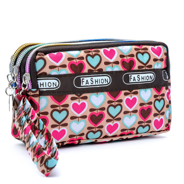 Fashion Women Wallet Canvas Fabric Zipper Lady Purses Moneybags Floral Dot Coin Purse Clutch Wristlet Handbag Girl Wallets Burse