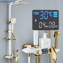 Grifo Digital de lluvia para baño, montaje en pared, pantalla LCD, sistema de ducha de temperatura constante, grifo termostático inteligente para bañera