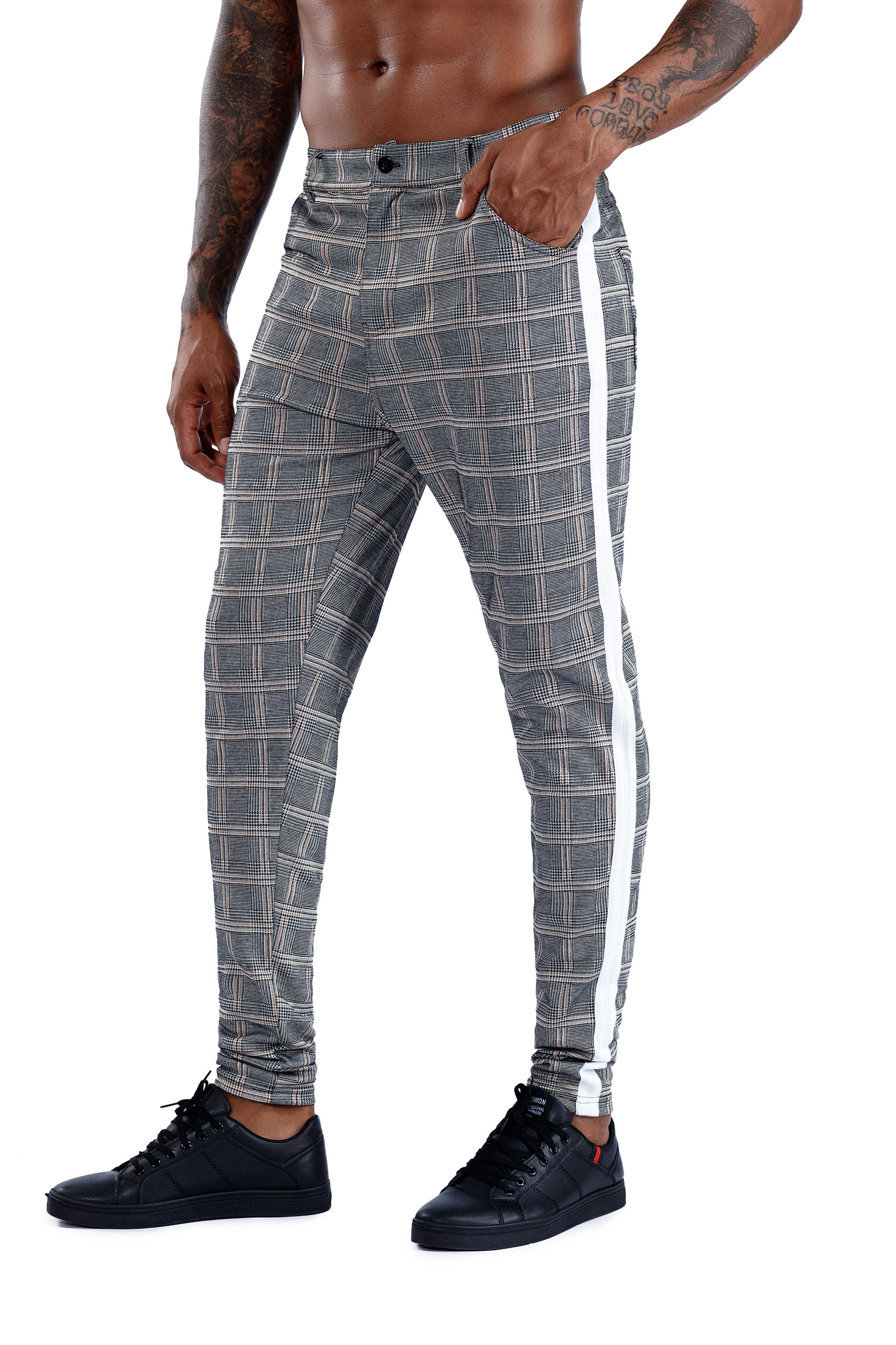 2019 Mens Casual Pant Skinny Plaid Trousers Men Fashion Gentleman Streetwear Male Pants Fitness Sweatpant Tight Joggers Men Pant