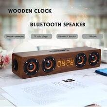 Деревянный беспроводной bluetooth динамик Портативный будильник
