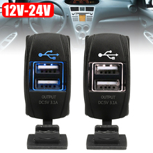 3.1A Dual USB Socket Charger Power Adapter Waterproof 12V-24V For Car