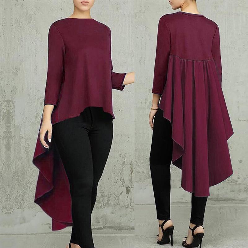 Plus Size Asymmetrical Tops Women's Tunic Blouse Spring 2019 ZANZEA Fashion Pleated Long Sleeve Shirt Female Swallowtail Blusas
