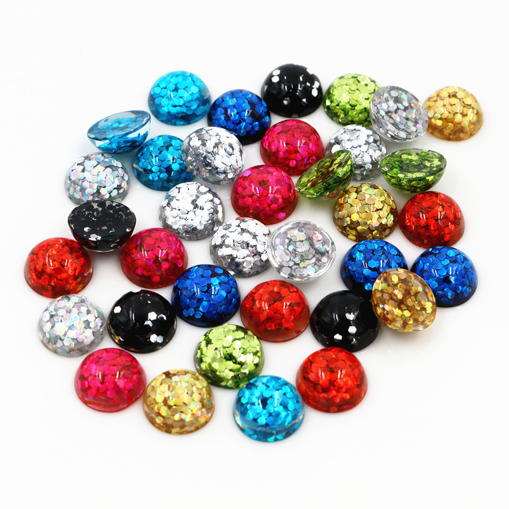 10mm 40pcs/lot  Mix Colors Bright Wafer Flat Back Resin Cabochons Cameo Fit 10mm Cabochons Tray Earrings And Rings Accessories