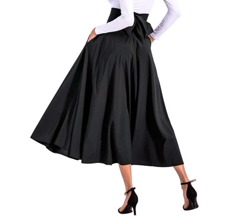 2020 New Fashion  Women Long Skirt Casual Spring  Summer Skirt womens Elegant Solid Bow-knot A-line Maxi Skirt Women Cothes (18)