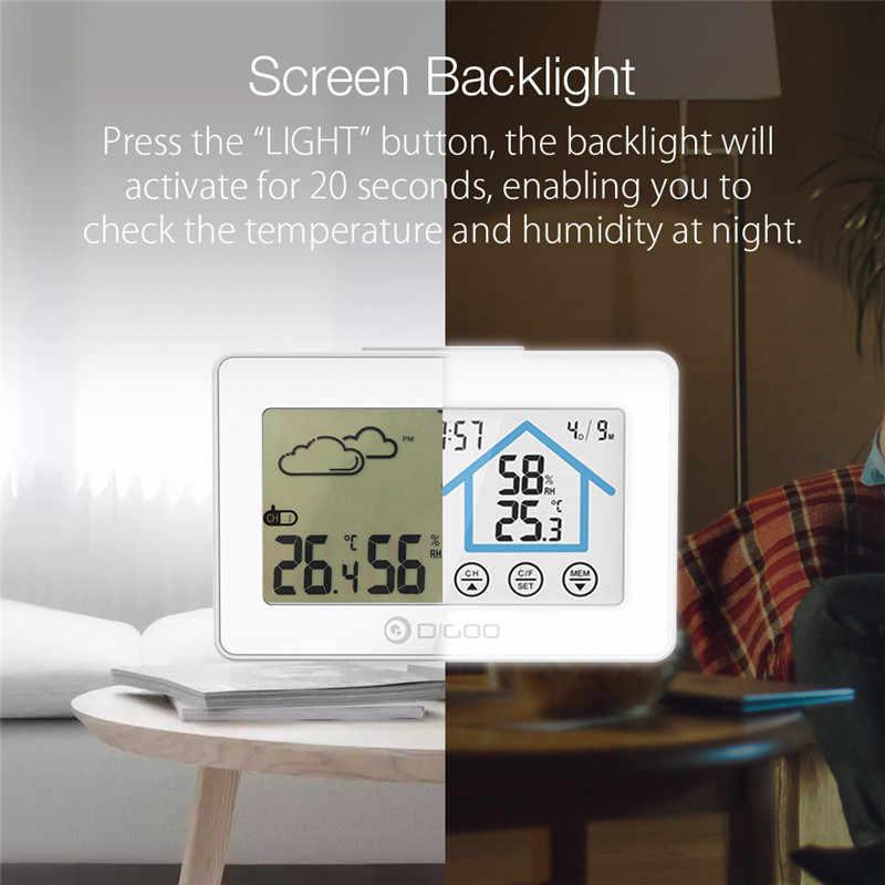 Digoo DG-TH8380 Layar Sentuh Smart Home Cuaca Setiap Hari Jam Alarm Thermometer Hygrometer Suhu Kelembaban Sensor
