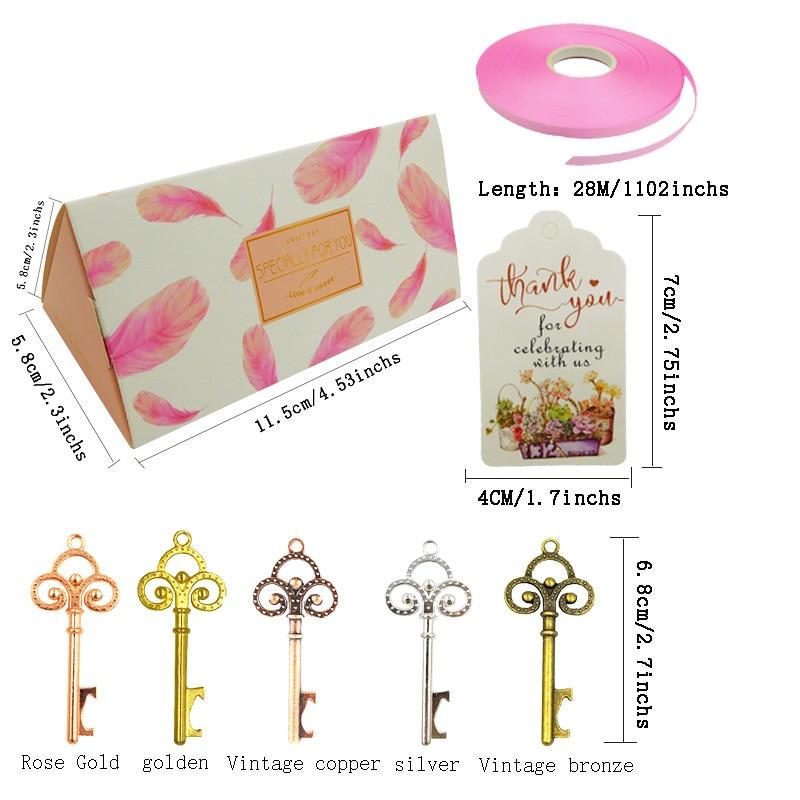 50 шт. конфетная бумага подарочные коробки сумки с ключом открывалка для бутылок упаковочная коробка для свадьбы День рождения Сувениры рож