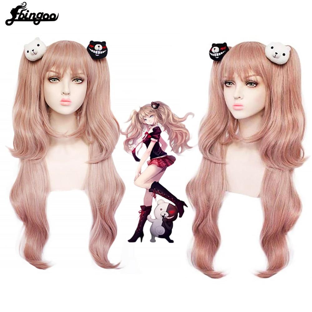 Ebingoo Danganronpa Enoshima Junko Wig Double Ponytail Pink Synthetic Cosplay Wig Long Natural  Wave Wig With Bangs+Hair Cap