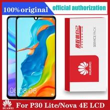 Huawei Tela de toque com leitor de digital, visor original de 6,15, substituição de moldura LCD para P30 Lite Nova 4e, MAR LX1, LX2, AL01