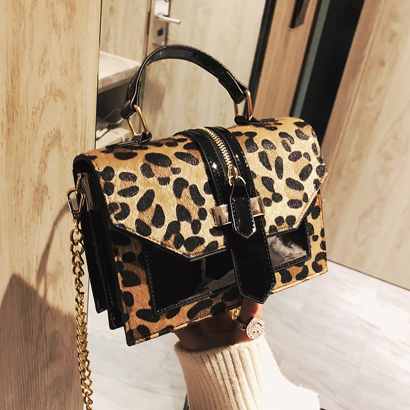 2019 Women's Leopard PU Leather Shoulder Bags Lady Solid Black And Burgundy Crossbody Chain Handbags Girl Fashion Sling Bags