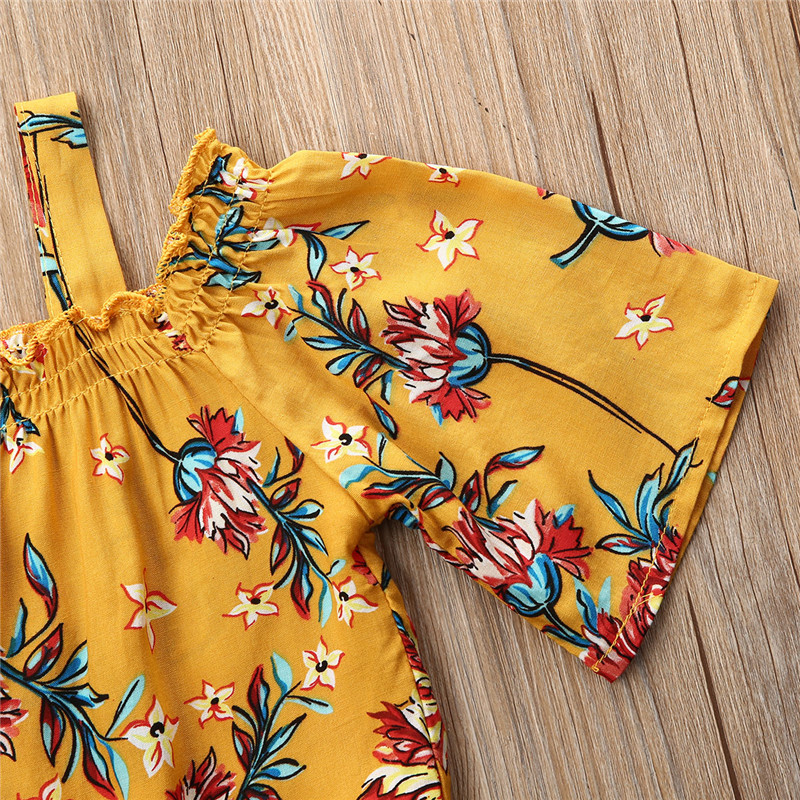 1-6 Years Infant Clothes 2019 Autumn Kids Girl Clothes Sets Off Shoulder Floral Tops Zipper Jeans Shorts Set Baby Girls Outfits 4