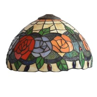 Stained Glass Lamp Shade Roses In 12 inches Wide for table lamp or pendant light