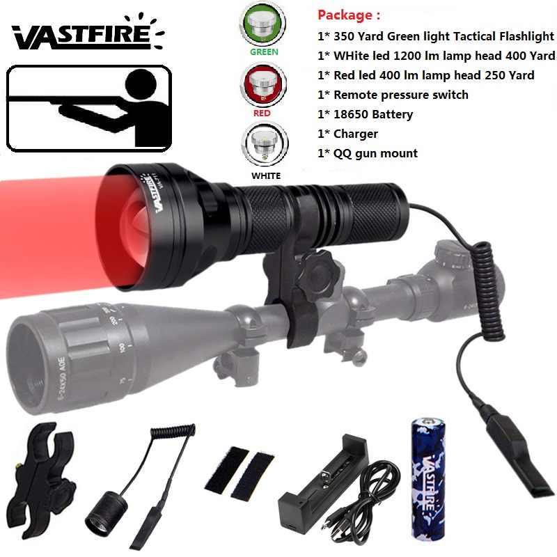 Yarda 350 Luz Led Verde Rojo Blanco Predator Usb Linterna Caza Monte rifle