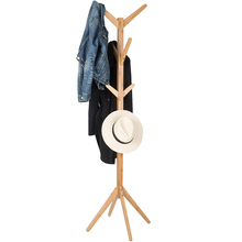 Nordic Coat Rack with 8 Hooks Wood Clothes Rack Stand Clothing Wardrobe Storage Hanger Rack Bedroom Furniture Entryway Organizer