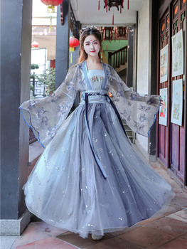 Chinese traditional costume summer costume fairy TV stage costume guzheng dance costume film TV improved Hanfu women skirt sets