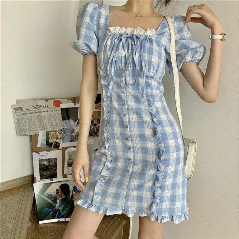 Купить qweek женское платье в клетку во французском стиле милый клетчатый
