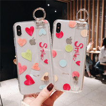 Wrist Strap Transparent Case For iphone 8 7 6S plus case Holder Stand Bracket silicone XR XS MAX Phone