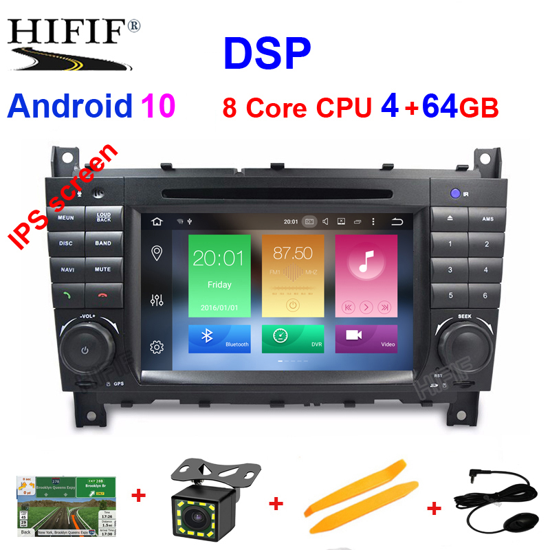 IPS DSP Android 10 4G 2 DIN Car DVD <font><b>GPS</b></font> <font><b>For</b></font> <font><b>Mercedes</b></font>/Benz W203 W209 W219 A-Class A160 C-Class C180 <font><b>C200</b></font> CLK200 radio stereo image