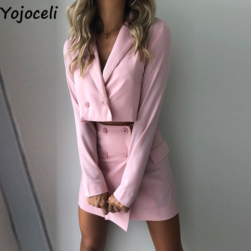 Yojoceli Sexy Autumn Elegant Cool Skirt Suit Women Winter Office Uniform Red Suit Female Cool Daily Short Suit With Skirt