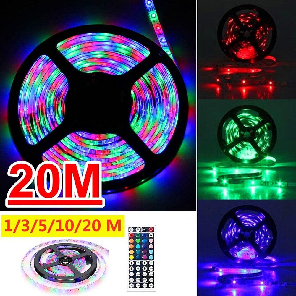 Светодиодная лента RGB SMD 3528, 12 В постоянного тока, 1/5/10/20 м, с пультом дистанционного управления на 44 кнопки