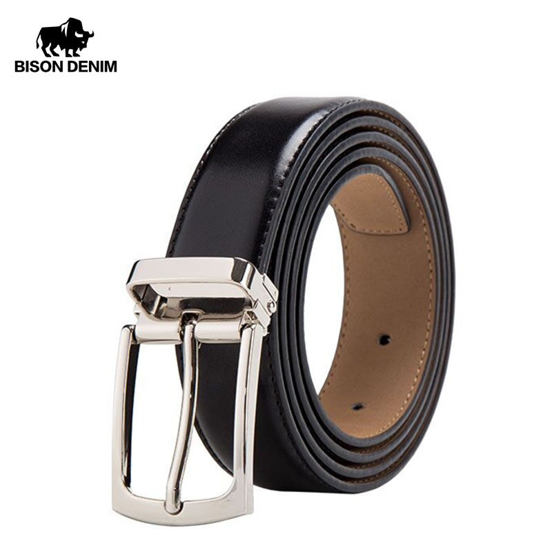 BISON DENIM  Genuine Leather Belt for Men Fashion Classic Pin Buckle Male Belt Business Luxury Strap High Quality W71123-in Men's Belts from Apparel Accessories on AliExpress