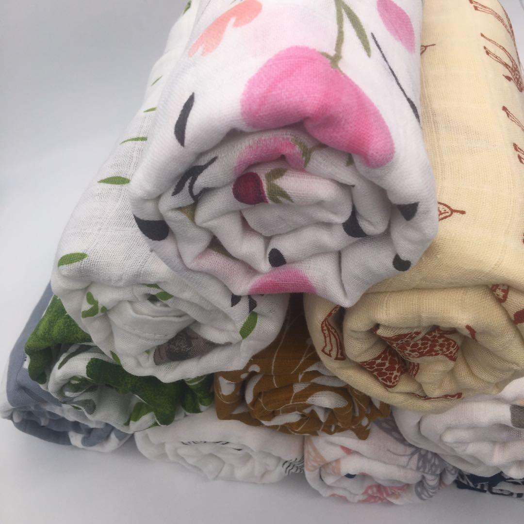 Детское Хлопковое одеяло, пеленка для новорожденных, муслиновый подгузник, полотенце, 120 х110 см 2