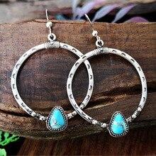 Pendientes largos Yobest con diseño geométrico irregular de piedra azul de montaña para mujer niña Brincos