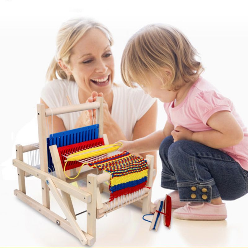 Kids Weaving Loom Kit Wooden Hand Knitting Machine For Beginners Children Y4UD