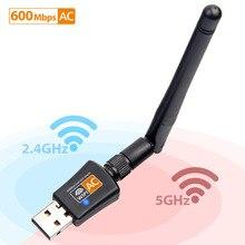 802.11AC dwuzakresowy 600 mb/s bezprzewodowy Adapter USB Wifi obsługa klucza sprzętowego systemu Windows Mac 2.4GHz/5GHz 2DBi anteny dla komputery PC laptopy