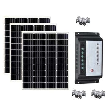 Solar Panel Kit 100w 200w 300W 12V Solar Charger Solar Controller 12v/24v 30A PWM Cavaran Car Camping Motorhome Fan Smartphone