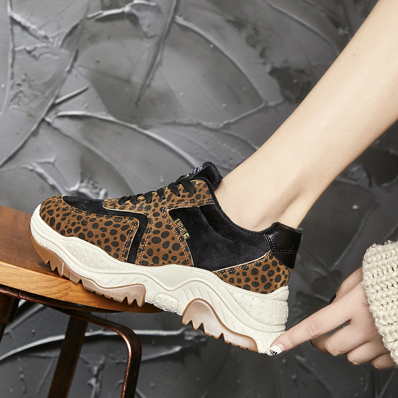 Women Sneakers Leopard Platform Casual Shoes Lace Up Fashion Ladies Mixed Color Female New Comfortable Walking Shoes K5-92