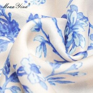 Image 5 - MoaaYina Fashion Designer Runway dress Spring Autumn Womens Dress V neck Lantern sleeve Elastic waist Loose Print Dresses
