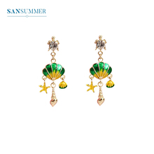 SANSUMMER 2019 New Style Fashionable Cartoon Alloy Personality Originality Starfish Shell Chain Long Temperament Earrings 5230
