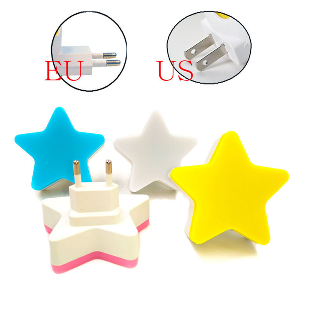 110V 220V Warm Star LED Night Light Room Decor EU US Plug Light-control Sensor Wall Socket Lamp Light Home Bedroom Decoration
