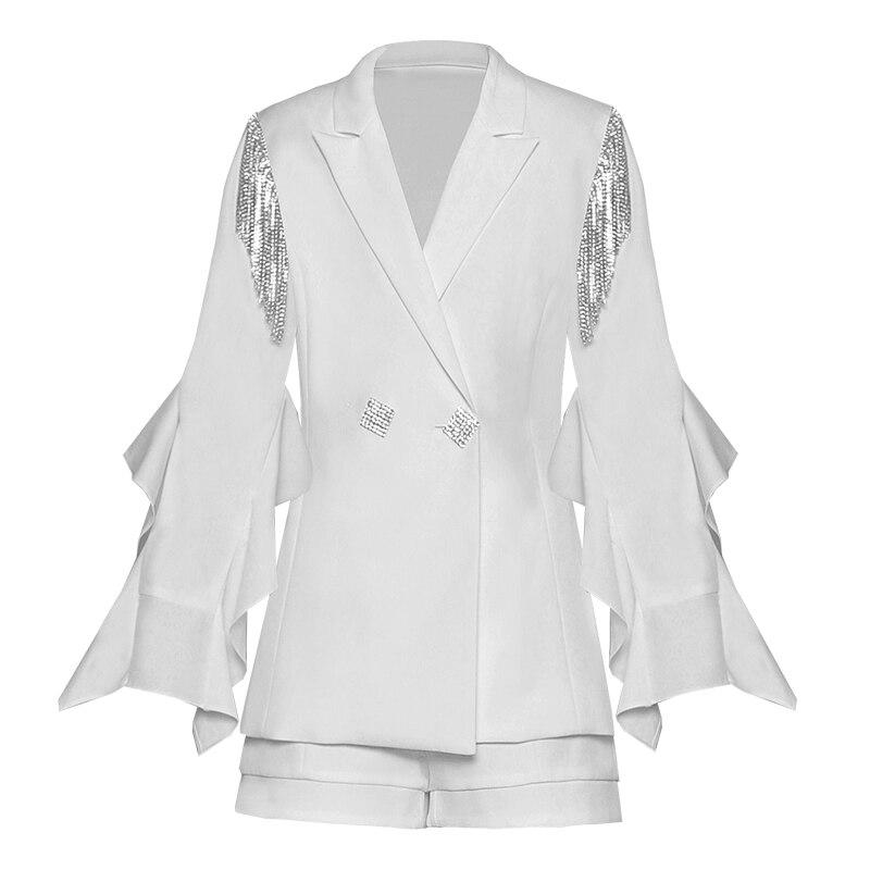 White Blazer Jacket Office Ladies Elegant Designer Runway Diamond Korean Ruffle Sexy High Quality Autumn Fashion Women Blazer