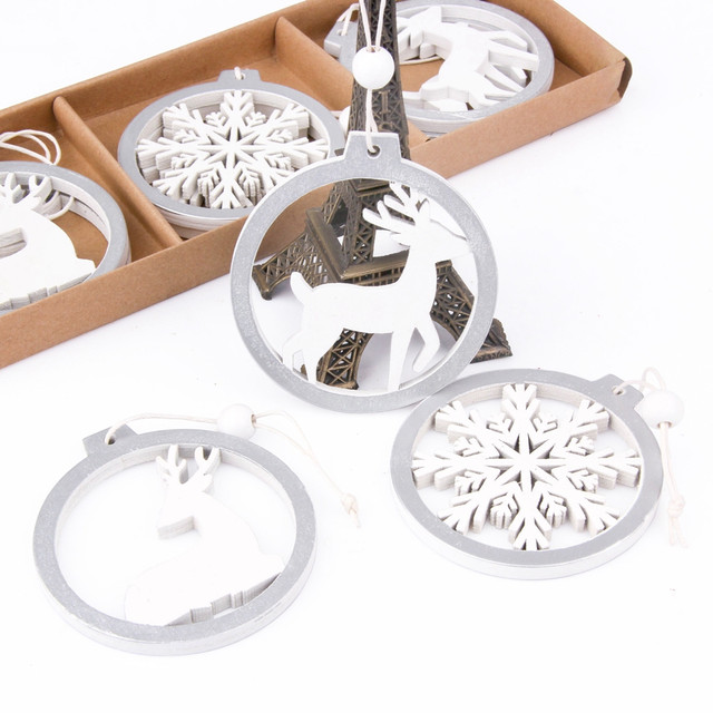 3PCS/lot Creative White Deer/Snowflake Wooden Pendants Christmas Tree Ornaments Decorations Xmas Wood Crafts Home Party Supplies 23