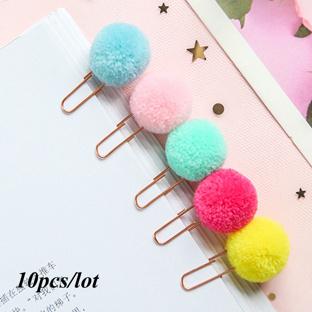 10pcs/lot Cute Plush Ball Paper Clips Metal Bookmark Binder Clips Planner Clip