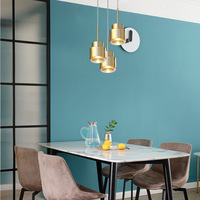 Simple modern personality designer hotel bedside model room coffee shop glass LED single head small Chandelier