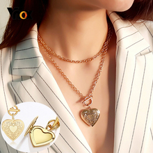 Vnox Fashion Heart Pendant Necklaces for Women Photo Locket