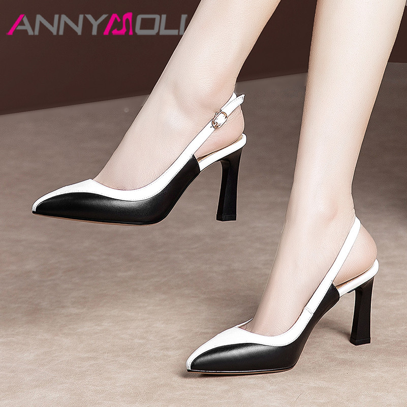 ANNYMOLI High Heels Women Shoes Natural Genuine Leather Thin High Heels Slingbacks Shoes Real Leather Buckle Pumps Female  34-39